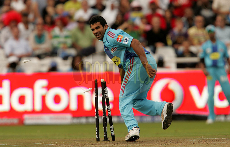CAPE TOWN, SOUTH AFRICA - 18 April 2009. Zaheer Khan tries for a run out during the opening match of the inaugural double header of the (Indian Premier League)  IPL Season 2 between The Mumbai Indians and The Chennai Superkings held at Sahara Park Newlands in Cape Town, South Africa..