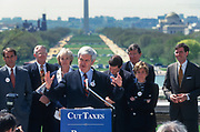 WASHINGTON, DC, USA - 1997/04/15: U.S. Speaker Newt Gingrich addresses a rally of Republican members of Congress calling for tax cuts on Tax Day at the West side of the U.S. Capitol April 15, 1997 in Washington, DC. Gingrich is pushing for a constitutional amendment that would require a two-thirds vote in each chamber to increase taxes.  (Photo by Richard Ellis)