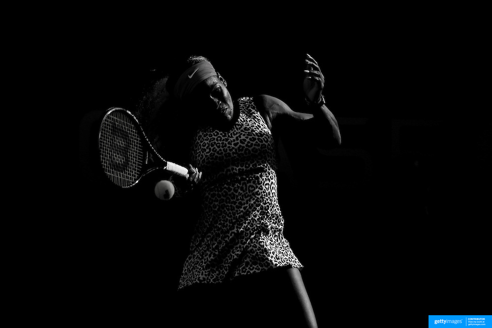 Serena Williams, USA, in action against Caroline Wozniacki, Denmark, in the  Women's Singles Final during the US Open Tennis Tournament, Flushing, New York, USA. 7th September 2014. Photo Tim Clayton