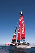 Emirates Team New Zealand testing the  AC72 on the Hauraki Gulf. 31/10/2012