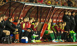 BRUSSELS, BELGIUM - Tuesday, October 15, 2013: Wales' Harry Wilson on the substitute's bench as he prepares to become his country's youngest ever player at 16-years-old during the 2014 FIFA World Cup Brazil Qualifying Group A match against Belgium at the Koning Boudewijnstadion. (Pic by David Rawcliffe/Propaganda)