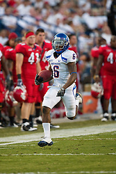 Sep. 18, 2009; Fresno, CA, USA; Boise State Broncos running back D.J. Harper (6) rushes for a 60 yard touchdown during the second quarter of the Fresno State Bulldogs game at Bulldog Stadium.