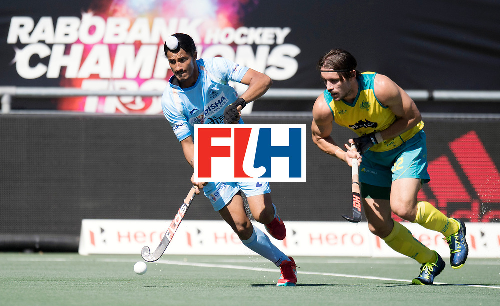 BREDA - Rabobank Hockey Champions Trophy<br /> Final Australia - India<br /> Photo: SINGH Dilpreet and HAYWARD Jeremy.<br /> COPYRIGHT WORLDSPORTPICS FRANK UIJLENBROEK