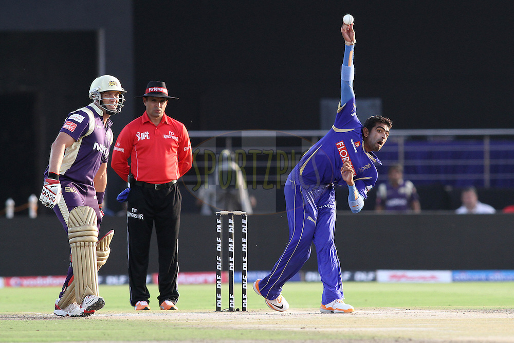 Amit Singh of the Rajasthan Royals sends down a delivery during match 12 of the the Indian Premier League ( IPL ) Season 4 between the Rajasthan Royals and the Kolkata Knightriders held at the Sawai Mansingh Stadium, Jaipur, Rajatshan, India on the 15th April 2011..Photo by Shaun Roy/BCCI/SPORTZPICS