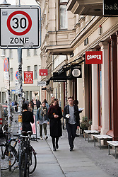Many fashion boutiques and shops on Neue Schonhauser Strasse in Mitte Berlin Germany