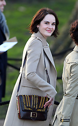 Michelle Dockery arriving at the Burberry fashion show during London Fashion Week. UK. 18/02/2013<br />BYLINE MUST READ : GOTCHAIMAGES.COM<br /><br />Copyright by © Gotcha Images Ltd. All rights reserved.<br />Usage of this image is conditional upon the acceptance <br />of Gotcha Images Ltd, terms and conditions available at<br />www.gotchaimages.com
