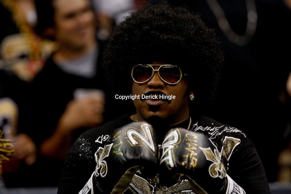 September 9, 2010; New Orleans, LA, USA;  A New Orleans Saints fan in the stands during the NFL Kickoff season opener at the Louisiana Superdome. The New Orleans Saints defeated the Minnesota Vikings 14-9.  Mandatory Credit: Derick E. Hingle