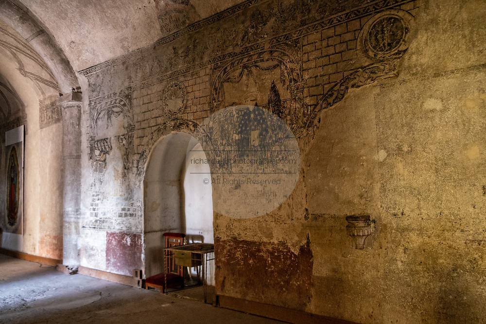 Ancient murals in the San Nicolas Tolentino Temple and Ex-Monastery in Actopan, Hidalgo, Mexico. The colonial church and convent  was built in 1546 and combine architectural elements from the romantic, gothic and renaissance periods.