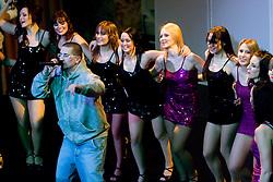 Singer Megiboy at Night with The dragon ladies - Zmajcice, cheerleading dance group from Ljubljana, on January 10, 2009, in Festivalna dvorana, Ljubljana, Slovenia. (Photo by Vid Ponikvar / SportIda).