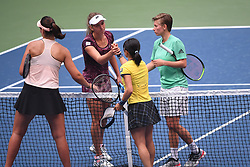 WUHAN, Sept. 28, 2018  Elise Mertens (2nd L) of Belgium and Demi Schuurs (1st R) of the Netherlands shake hands with Shuko Aoyama (2nd R) of Japan and Lidziya Marozava of Belarus after their doubles semifinal match at the 2018 WTA Wuhan Open tennis tournament in Wuhan, central China's Hubei Province, on Sept. 28, 2018. Elise Mertens and Demi Schuurs won 2-1. (Credit Image: © Xiao Yijiu/Xinhua via ZUMA Wire)