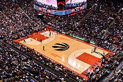 February 11, 2019 - Toronto, Ontario, Canada - Top view at the basketball court during the Toronto Raptors vs Brooklyn Nets NBA regular season game at Scotiabank Arena on February 11, 2019, in Toronto, Canada (Toronto Raptors win 127-125) (Credit Image: © Anatoliy Cherkasov/NurPhoto via ZUMA Press)