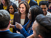 09 JUNE 2019 - CEDAR RAPIDS, IOWA: US Senator KAMALA HARRIS (D-CA) walks into the Iowa Democrats 2019 Hall of Fame Celebration in the Cedar Rapids Convention Center. Nineteen of the Democratic candidates for president in 2020 spoke at the annual event. Iowa traditionally hosts the the first election event of the presidential election cycle. The Iowa Caucuses will be on Feb. 3, 2020.      PHOTO BY JACK KURTZ