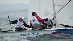 2012 Olympic Games London / Weymouth<br /> 470 Training race<br /> Reichstdter Florian, Schmid Matthias, (AUT, 470 Men)