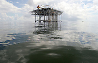 Jul 15, 2006; Gulf of Mexico, USA; Offshore oil rig drilling platforms in the Gulf of Mexico just outside of the mouth of the Mississippi River.<br /> Mandatory Credit: Photo by Marianna Day Massey/ZUMA Press.<br /> (&copy;) Copyright 2006 by Marianna Day Massey