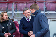 Heart of Midlothian manager Craig Levein shakes hands with Steven Gerrard, manager of Rangers FC before the Ladbrokes Scottish Premiership match between Heart of Midlothian and Rangers FC at Tynecastle Park, Edinburgh, Scotland on 20 October 2019.