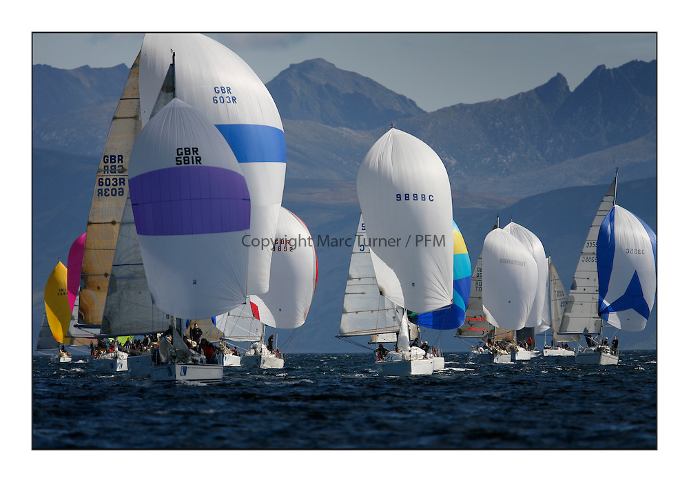 The Brewin Dolphin Scottish Series, Tarbert Loch Fyne...IRC Fleets downwind with Spinakers and Arran,