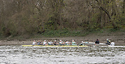 London, UK. 04 April 2019.  Oxford and Cambridge Universities Blue Crews undertake Practice Outings in preparation for this Sunday's Boat Race.<br /> Pictured: Cambridge University Boat Club (CUBC) Blue Crew.  Credit: Duncan Grove FRPS/Alamy Live News.