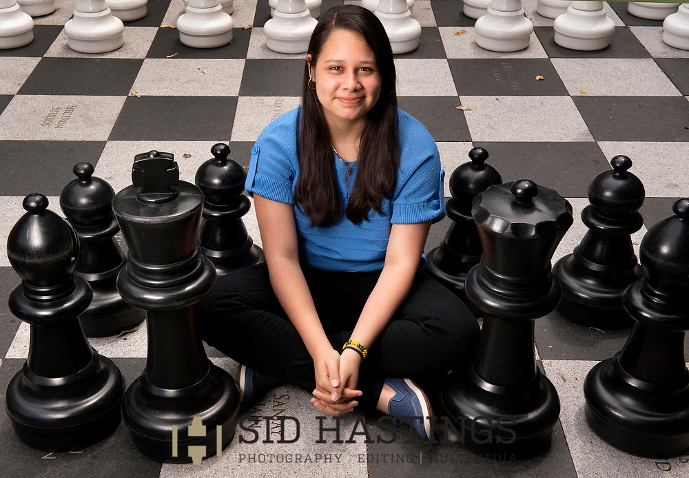 29 JUNE 2017 -- ST. LOUIS -- Thalia Cervantes, a top-ranked American junior chess player from Webster Groves, Mo., poses for a photograph at the World Chess Hall of Fame Thursday, June 29, 2017 in St. Louis. Fourteen-year-old Cervantes, who was born in Cuba and emigrated to the US, will compete in the 2017 U.S. Girls' Junior Championship July 7-18 at the Chess Club and Scholastic Center of Saint Louis.<br /> <br /> Photo &copy; copyright 2017 Sid Hastings.