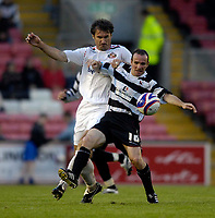 Photo: Jed Wee/Sportsbeat Images.<br /> Darlington v Sunderland. Pre Season Friendly. 18/07/2007.<br /> <br /> Darlington's Ian Harty (R) holds off Sunderland's Stanislav Varga.