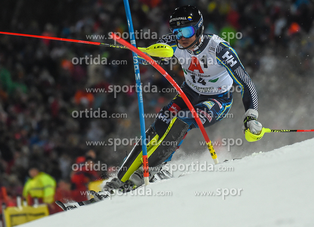 """29.01.2019, Planai, Schladming, AUT, FIS Weltcup Ski Alpin, Slalom, Herren, 1. Lauf, im Bild Andre Myhrer (SWE) // Andre Myhrer of Sweden in action during his 1st run of men's Slalom """"the Nightrace"""" of FIS ski alpine world cup at the Planai in Schladming, Austria on 2019/01/29. EXPA Pictures © 2019, PhotoCredit: EXPA/ Erich Spiess"""
