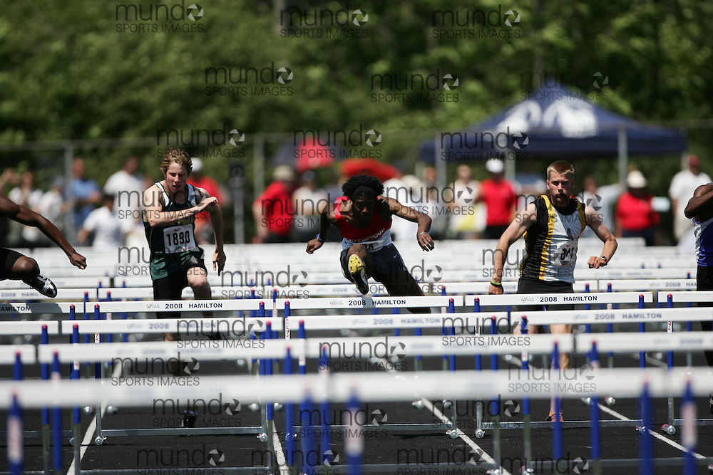 Hamilton, Ontario ---06/06/08--- Leo Nichol of Applewood Hts  in Mississauga competes in the sprint hurdles at the 2008 OFSAA Track and Field meet in Hamilton, Ontario..SEAN BURGES