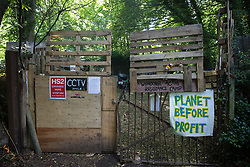 Wendover, UK. 17 July, 2020. The entrance to the HS2 Wendover Active Resistance Camp which is occupied by environmental activists from Stop HS2. Activists from groups including Stop HS2 and HS2 Rebellion continue to protest against the high-speed rail link, which is currently projected to cost £106bn and which will remain a net contributor to CO2 emissions during its projected 120-year lifespan, on environmental and economic grounds.