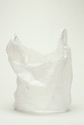 Still life of a white plastic shopping bag.