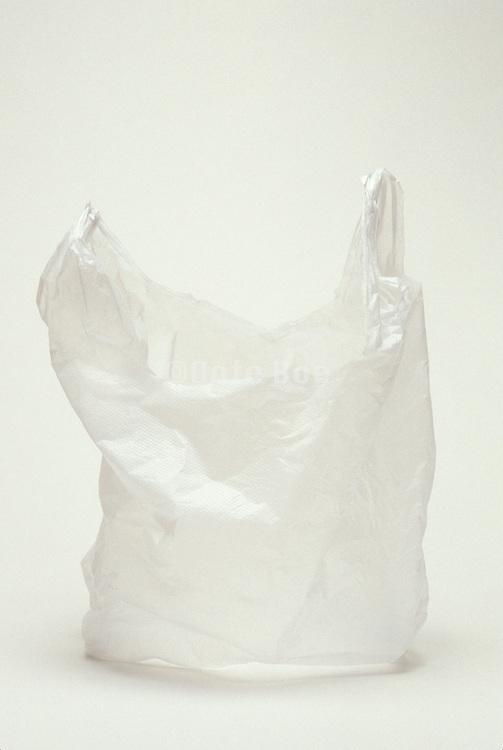 Still life of a white plastic shopping bag.
