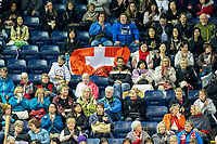 KELOWNA, BC - OCTOBER 25: Fans show their support for Swiss skater Alexia Paganini at Prospera Place on October 25, 2019 in Kelowna, Canada. (Photo by Marissa Baecker/Shoot the Breeze)