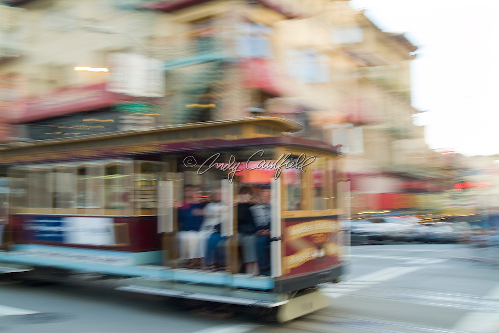 Cable car in Chinatown-San Francisco, CA