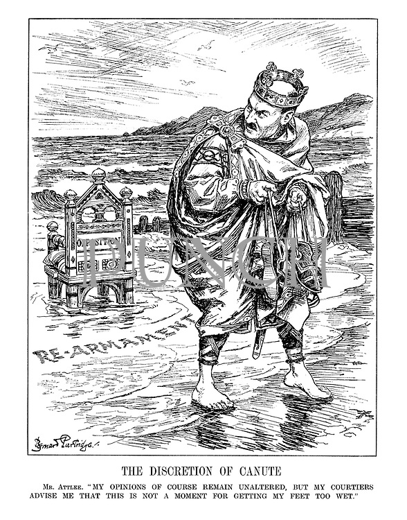 """The Discretion of Canute. Mr. Atlee. """"My opinions of course remain unaltered, but my courtiers advise me that this is not a moment for getting my feet too wet."""""""
