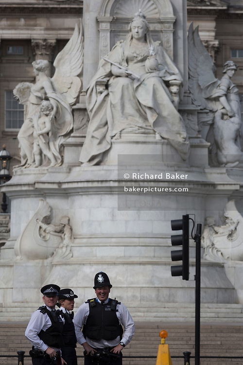 On US President Donald Trump's first day of a controversial three-day state visit to the UK by the 45th American President, British Met Police officers secure the Mall outsiode Buckingham Palace, on 3rd June 2019, in London England.
