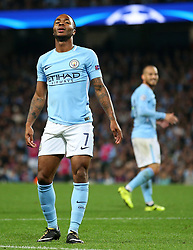 Raheem Sterling of Manchester City reacts after missing a chance - Mandatory by-line: Matt McNulty/JMP - 26/09/2017 - FOOTBALL - Etihad Stadium - Manchester, England - Manchester City v Shakhtar Donetsk - UEFA Champions League Group stage - Group F