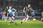 Wycombe Wanderers Defender Dan Scarr (28) puts in the through ball during the EFL Sky Bet League 2 match between Wycombe Wanderers and Carlisle United at Adams Park, High Wycombe, England on 3 February 2018. Picture by Stephen Wright.