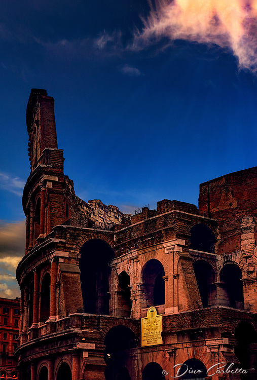 """Dusk falls on the Colosseum in Rome""…<br />