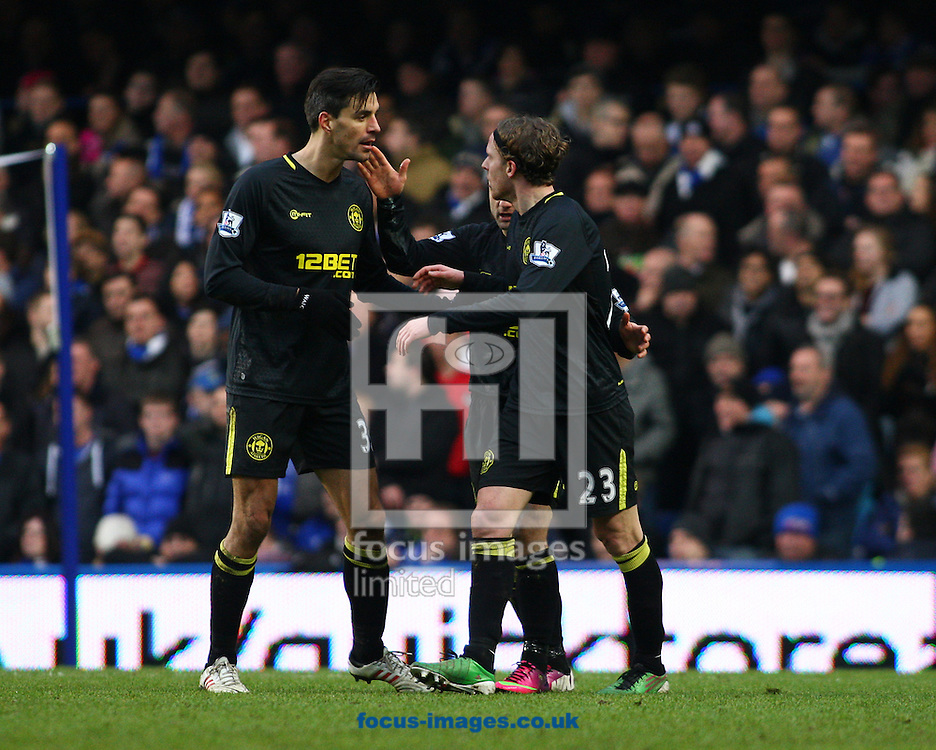 Picture by Rob Fisher/Focus Images Ltd +44 7545 398891.09/02/2013.Wigan Athletic celebrate their first goal during the Barclays Premier League match at Stamford Bridge, London.