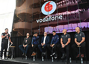 MC Jay Reeve.<br /> Vodafone New Zealand announce the renewing of sponsorship for the Vodafone Warriors at InnoV8 Auckland Vodafone HQ, North Shore, Auckland. Thursday 24 May 2018. © Copyright Image: Andrew Cornaga / www.photosport.nz