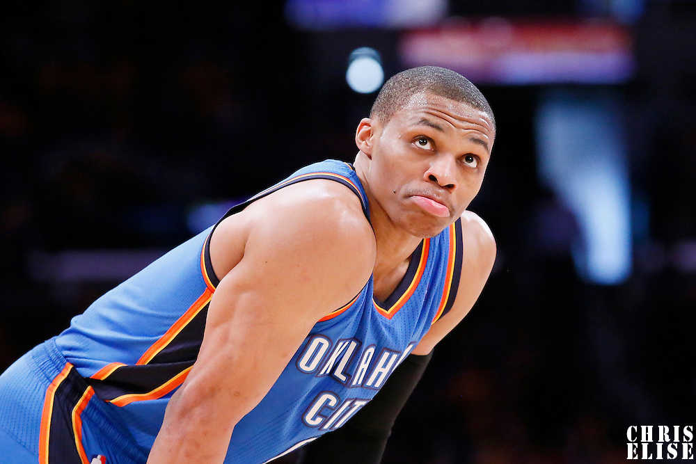 09 March 2014: Oklahoma City Thunder point guard Russell Westbrook (0) rests during the Los Angeles Lakers 114-110 victory over the Oklahoma City Thunder at the Staples Center, Los Angeles, California, USA.