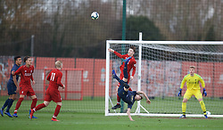 KIRKBY, ENGLAND - Saturday, January 26, 2019: Liverpool's Morgan Boyes gets a boot in the face from Manchester United's Jimmy Garner during the FA Premier League match between Liverpool FC and Manchester United FC at The Academy. (Pic by David Rawcliffe/Propaganda)