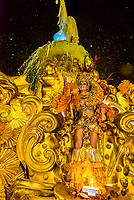 Floats in the Carnaval parade of GRES Unidos do Viradouro samba school in the Sambadrome, Rio de Janeiro, Brazil.