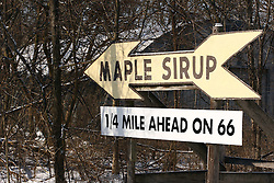 23 February 2008: A sign along the Mother Road, Historic US Route 66, points customers to a shop that sells Maple Sirup.