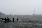 (photo by Matt Roth).Monday, October 29, 2012.Assignment ID: 10133655A..Boat owners opt to anchor their ships in the Chesapeake Bay waters off  Jonas Green Park in Annapolis, MD, assuming the docks might create more damage during hurricane Sandy conditions at in Annapolis, Maryland Monday, October 29, 2012. .