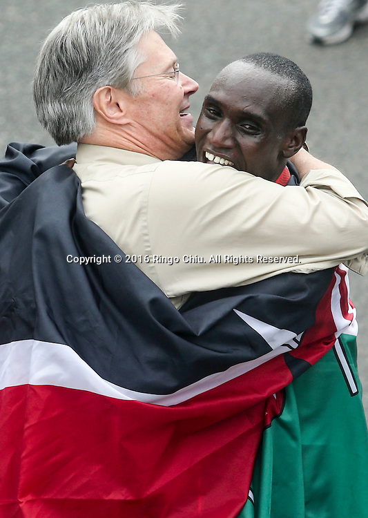 Weldon Kirui of Kenya, greets with the people after winning the 31st Los Angeles Marathon in Los Angeles, Sunday, Feb. 14, 2016. The 26.2-mile marathon started at Dodger Stadium and finished at Santa Monica.  (Photo by Ringo Chiu/PHOTOFORMULA.com)<br /> <br /> Usage Notes: This content is intended for editorial use only. For other uses, additional clearances may be required.