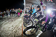 The women get ready for their final during stage 4 of the first Snow Epic, the eliminator course on the Klostermatte ski slopes near Engelberg, in the heart of the Swiss Alps, Switzerland on the 16th January 2015<br /> <br /> Photo by:  Nick Muzik / Snow Epic / SPORTZPICS
