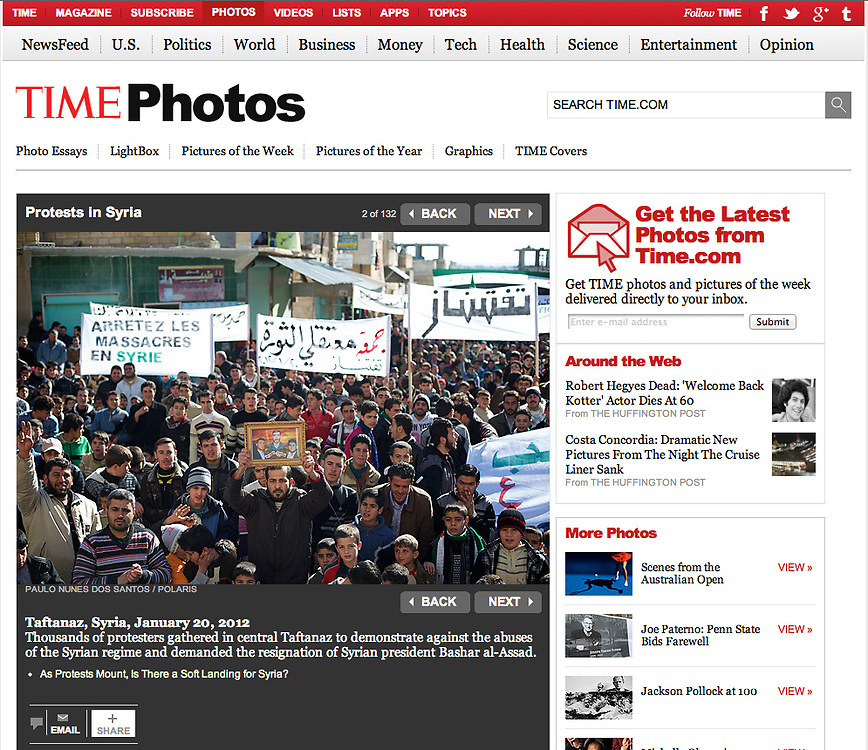 """Screengrab of """"Protests in Syrian"""" published in TIME.com"""