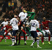 Jordan Pickford clears during the Sky Bet Championship match between Preston North End and Nottingham Forest at Deepdale, Preston, England on 3 November 2015. Photo by Pete Burns.