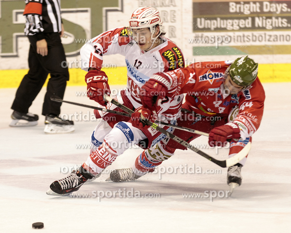 04.10.2015, Eiswelle, Bozen, ITA, EBEL, HCB Suedtirol vs EC KAC, 8. Runde, im Bild v.l. Manuel Ganahl (EC KAC), Hannes Oberdoerfer (HCB Suedtirol) // during the Erste Bank Icehockey League 8th round match between HCB Suedtirol and EC KAC at the Eiswelle in Bozen, Italy on 2015/10/04. EXPA Pictures © 2015, PhotoCredit: EXPA/ Johann Groder