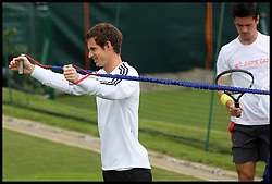 British No1 Andy Murray during Training at the Wimbledon Tennis Championships<br /> Tuesday, 25th June 2013<br /> Picture by Andrew Parsons / i-Images