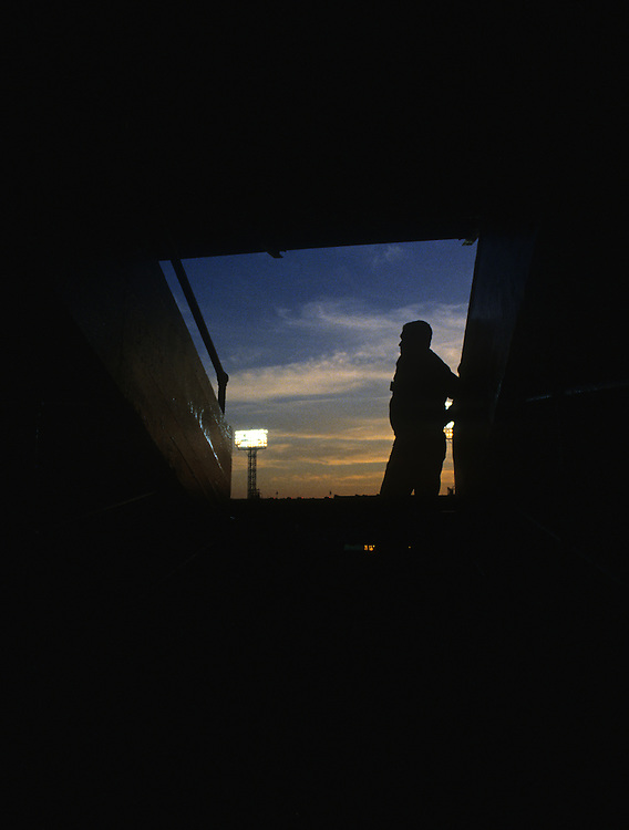 CHICAGO, IL - 1990:  A view at sunset from the upper deck at old Comiskey Park in Chicago, Illinois.  It was demolished in 1991.  (Photo by Ron Vesely)