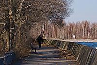 Man walking on boardwalk in the spring. Toronto Island.